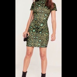 Misguided High Neck Green Animal Print Dress